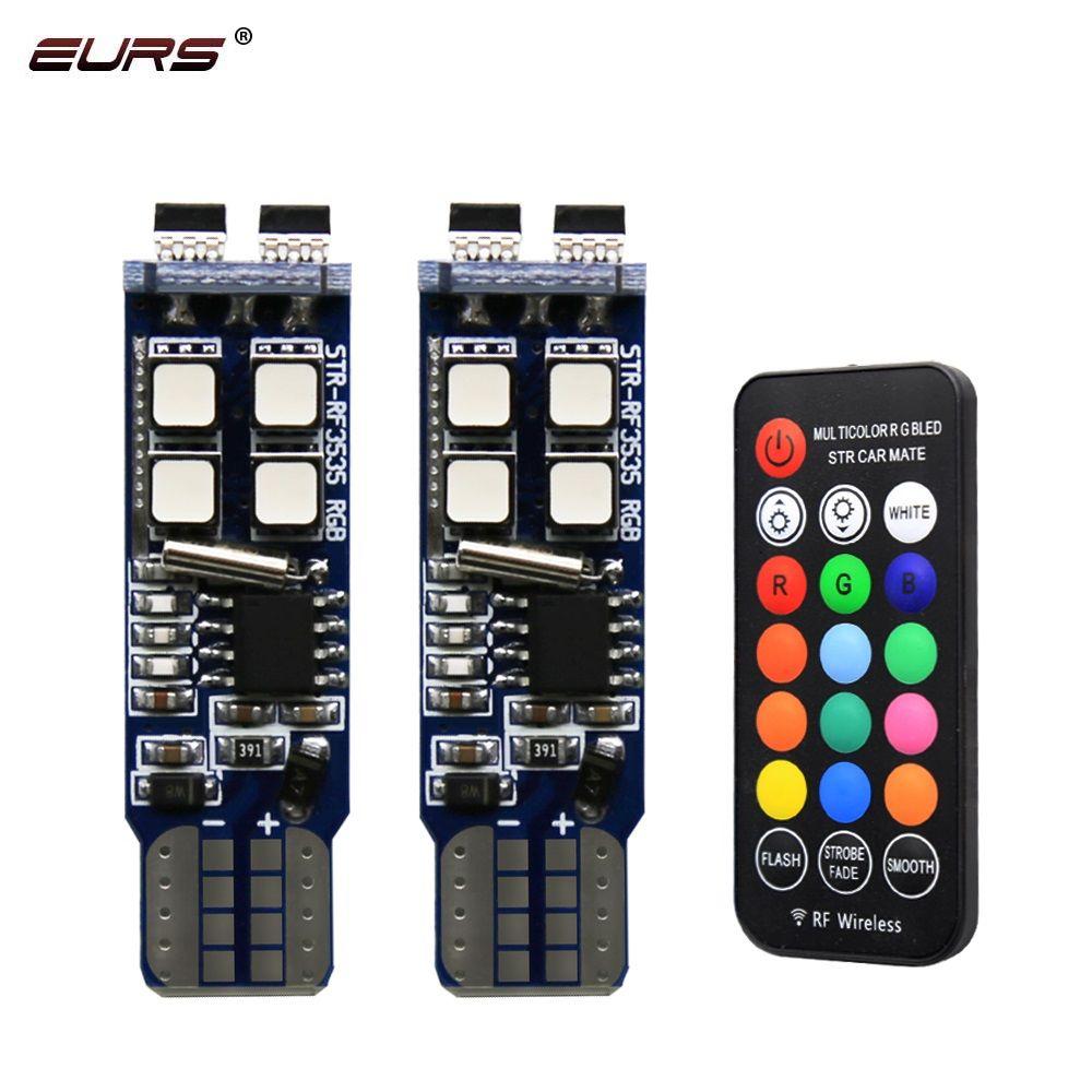 EURS Neue design 2PCS RGB T10 W5W 3535 10SMD RF Brilliant Bunte Für Auto LED Marker Lampe Position Licht mit Fernbedienung 12V
