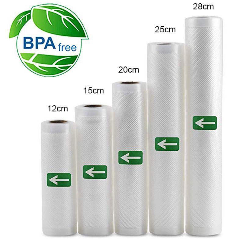 5Rolls Lot Kitchen Food Vacuum Bag Storage Bags for Vacuum Sealer Food Keep 12+15+20+25+28cm*500cm