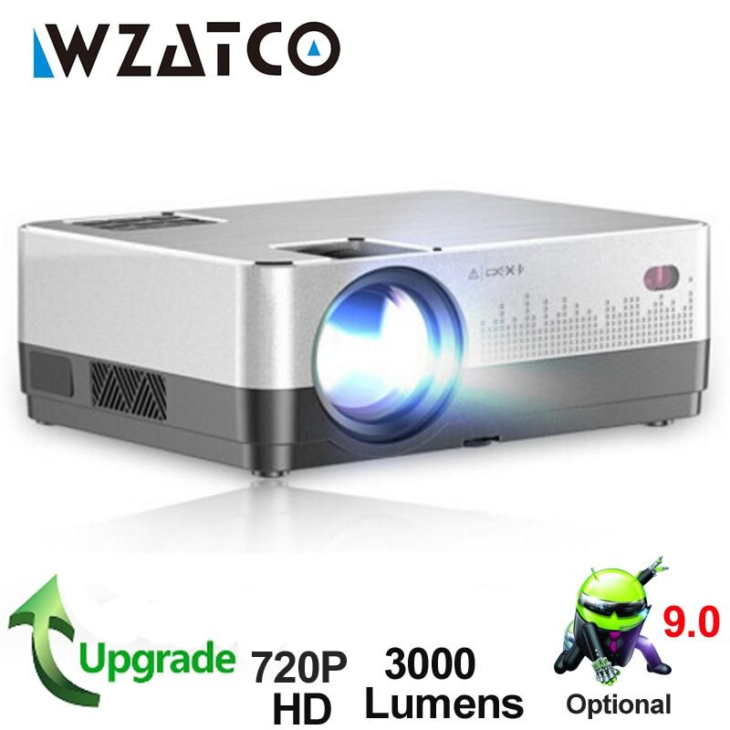 WZATCO H2 3000Lumens HD 720P LED Projector Android 9.0 WiFi Full HD 1080P 4K Multimedia LCD Proyector Beamer For Home Theater