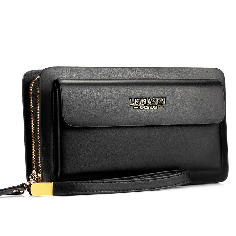 Marque de luxe hommes portefeuille Zipper sac à main grande capacité mode Long en cuir portefeuille affaires porte-carte homme embrayage sac à main