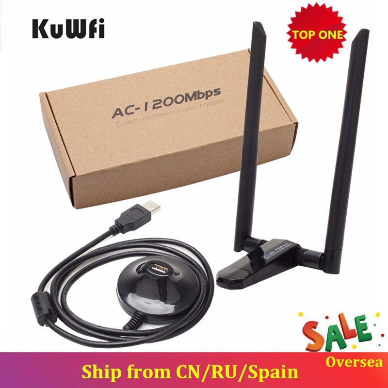 KuWfi 1200Mbps Carte Réseau Sans Fil USB USB3.0 Bi-bande 2.4G & 5.8G Récepteur Wifi & Adaptateur Sans Fil pour PC Avec 2 pièces Antennes