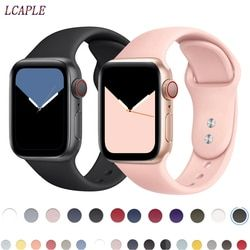 Tali untuk Apple Watch Band Apple Watch 4 Band 44 Mm IWatch Band 42 Mm Correa 38 Mm 40 Mm Silikon Pulseira Gelang gelang Jam 5 4 3
