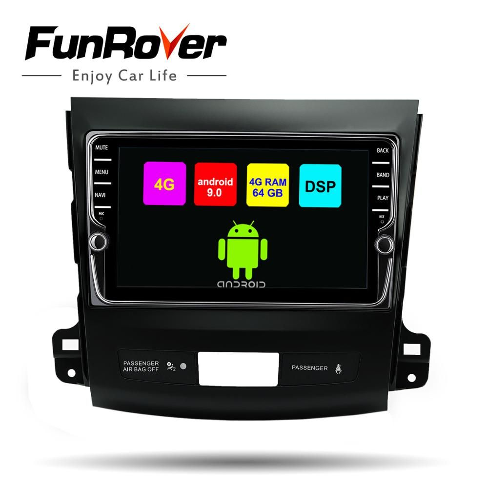 Funrover android 9.0 2din car multimedia dvd gps für Mitsubishi Outlander 2006-2014/Peugeot 4007/Citroen C- crosser 8 core stereo