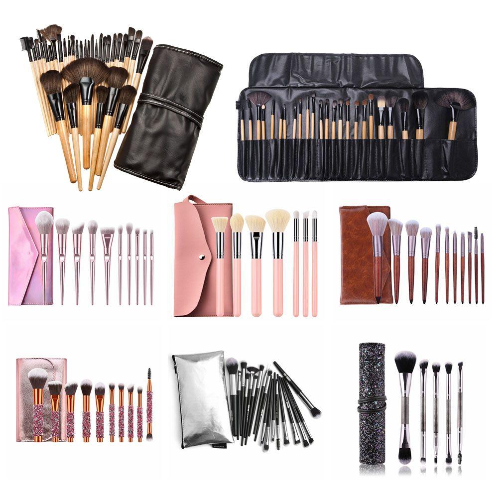 1 Set pinceaux de maquillage professionnels fard à paupières poudre de cils pinceaux de maquillage Brocha Maquillaje avec sac + bouffée d'éponge cosmétique