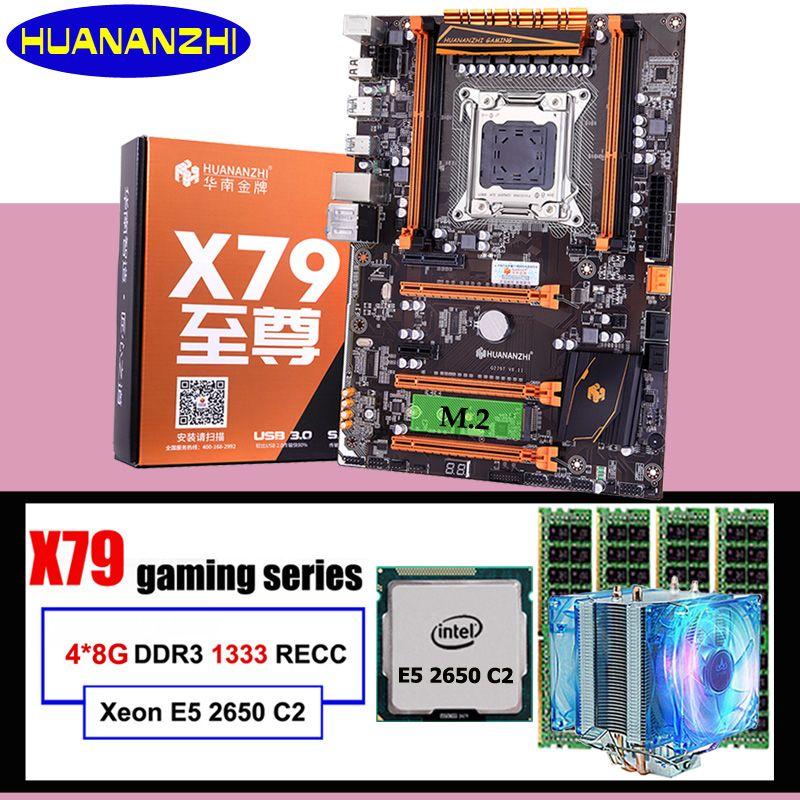 HUANANZHI deluxe X79 motherboard LGA2011 Xeon E5 2650 C2 mit kühler RAM 32G (4*8G) RECC computer montage komponenten bauen PC
