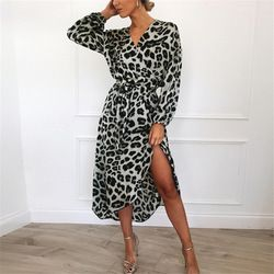 Women Spring Autumn Shirt Dress Lapel Collar Long Sleeve Lace Up Mid-Calf Dress Sexy Party Chiffon Leopard Print Beach Dresses