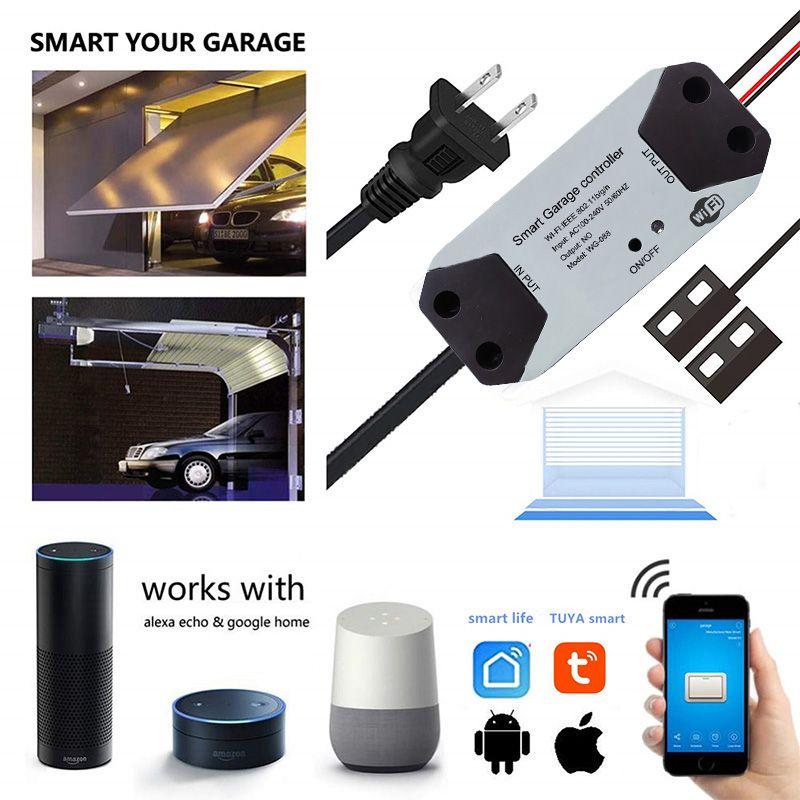 Wofea WiFi Switch Smart Garage Door Opener Controller with Alexa Google Home Smart Life/Tuya APP control