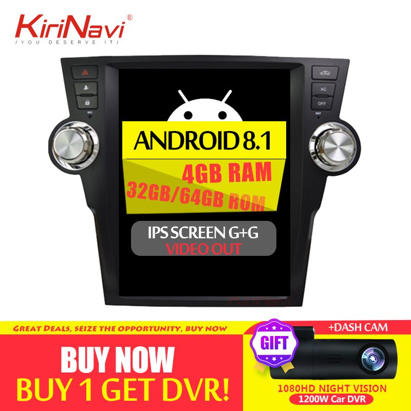 KiriNavi 12,1 1 Din Android 8.1 Auto Radio Für Toyota Highlander Auto Dvd Multimedia Player Android Gps Navigation 2009- 2013 WIFI