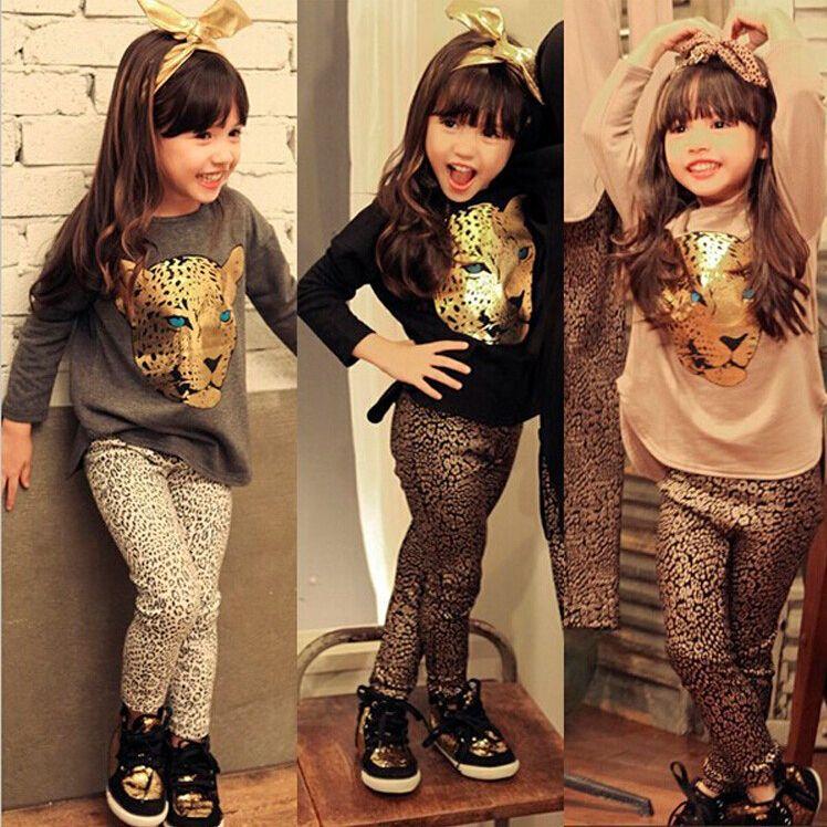 Filles vêtements ensembles bambin motif léopard filles vêtements bébé enfants vêtements manches complètes t-shirt + pantalon enfants vêtements