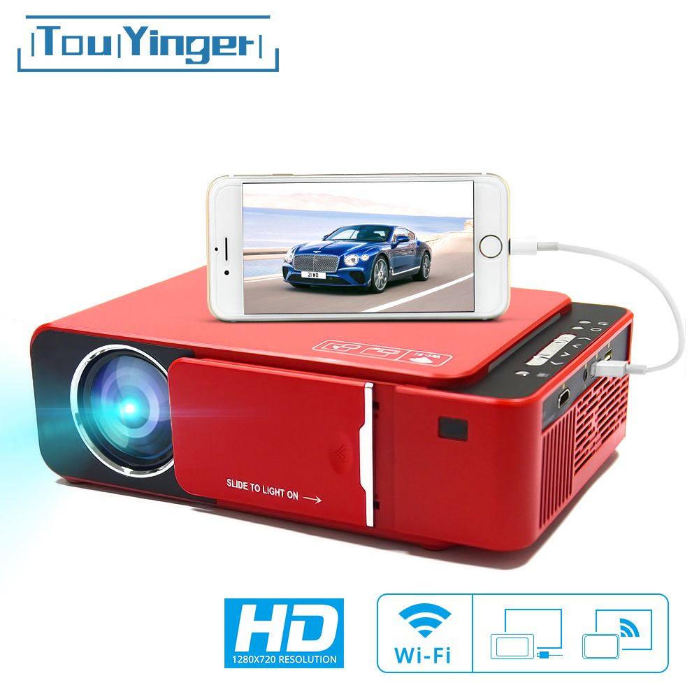 TouYinger T6 LED Video Projektor HD 720P Tragbare HDMI Option Android Wifi Beamer Unterstützung 4K Volle HD 1080p Home Theater Kino
