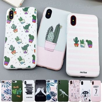Candy Color Leaf Print Phone Case for iPhone 11 Pro X 6 6s 7 8 Plus XR XS Max Cactus Plants Fashion Soft TPU Rubber Silicon Cover Capa 11ProMax Fundas Coque For iPhone11 11Pro ProMax