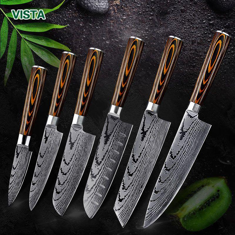 Couteau de cuisine couteaux de Chef japonais 7CR17 440C acier inoxydable à haute teneur en carbone Imitation damas couteau Laser de ponçage