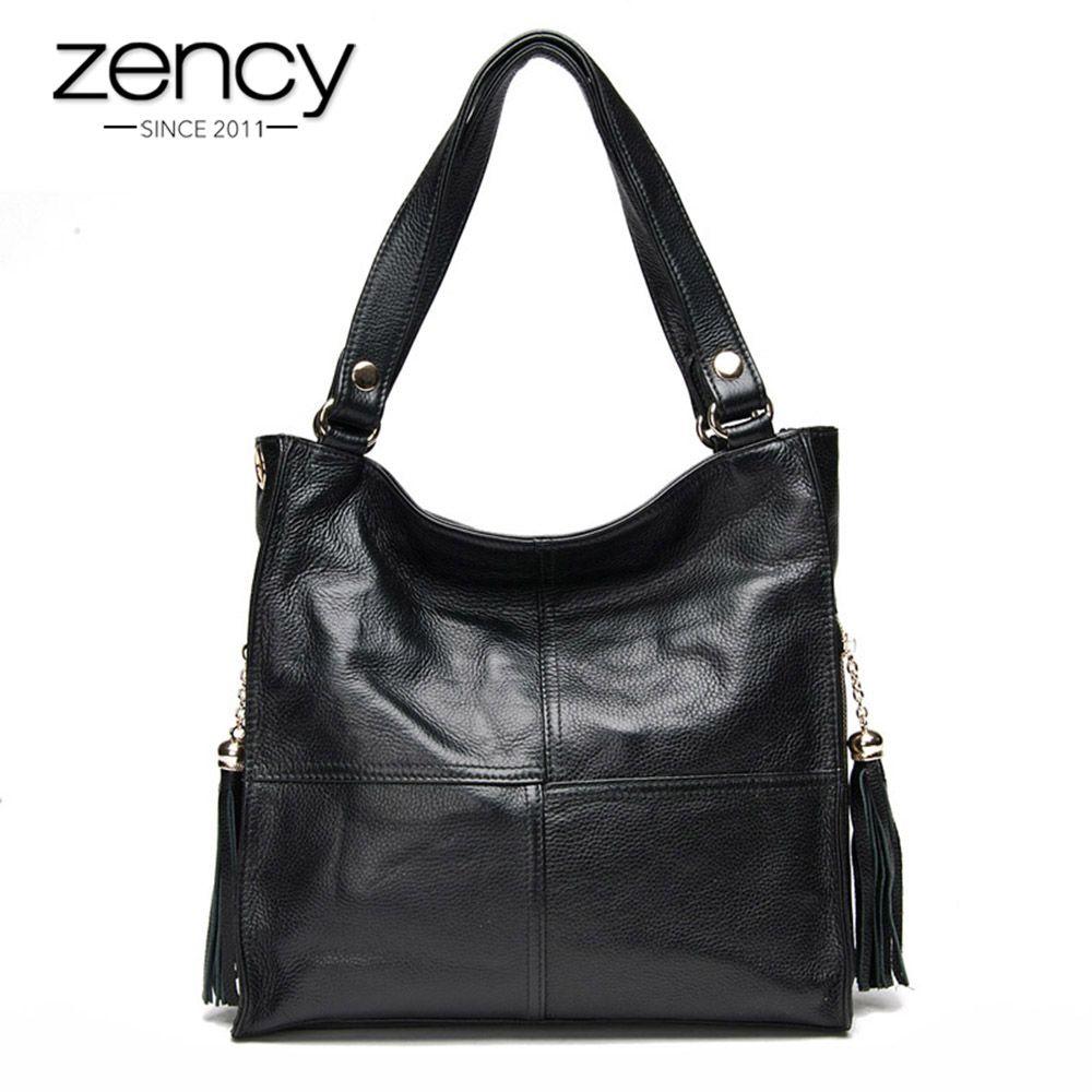 Sac à main femme Zency gland 100% sac à bandoulière en cuir véritable femme sac à bandoulière Messenger blanc Hobos sacoche