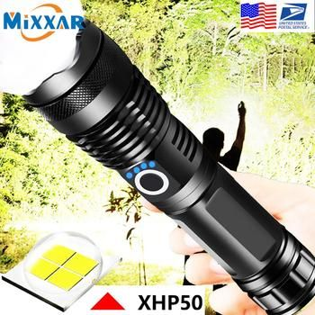 EZK90 Dropshipping LED Flashlight XHP50 Tactical Flashlights USB Rechargeable Waterproof Zoomable 18650 26650 Torch