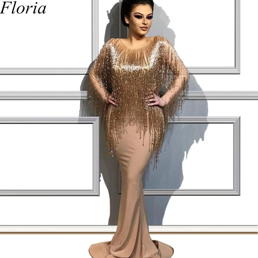 Modest Plus Size Champagne Glitter Cocktail Kleid Nahen Osten Meerjungfrau Lange Formale Abend Prom Party Kleid Eröffnungsfeier