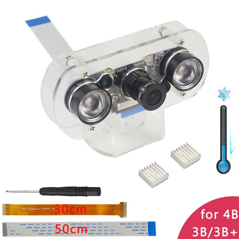 Raspberry Pi 4 modèle B caméra 5MP Focal réglable caméra de Vision nocturne + support + lumières IR + câble FFC pour framboise Pi zéro W/3B +