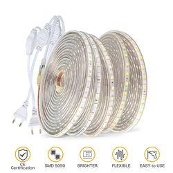 220V LED Strip Light SMD 5050 Outdoor Waterproof LED Ribbon 60Leds/M high brightness outdoor indoor decoration with EU Plug