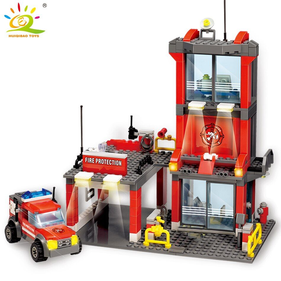 300 pièces Ville Caserne de pompiers Blocs De Construction compatibles legoingly Pompier chiffres Camion voiture Éclairer Briques Jouet pour Enfants