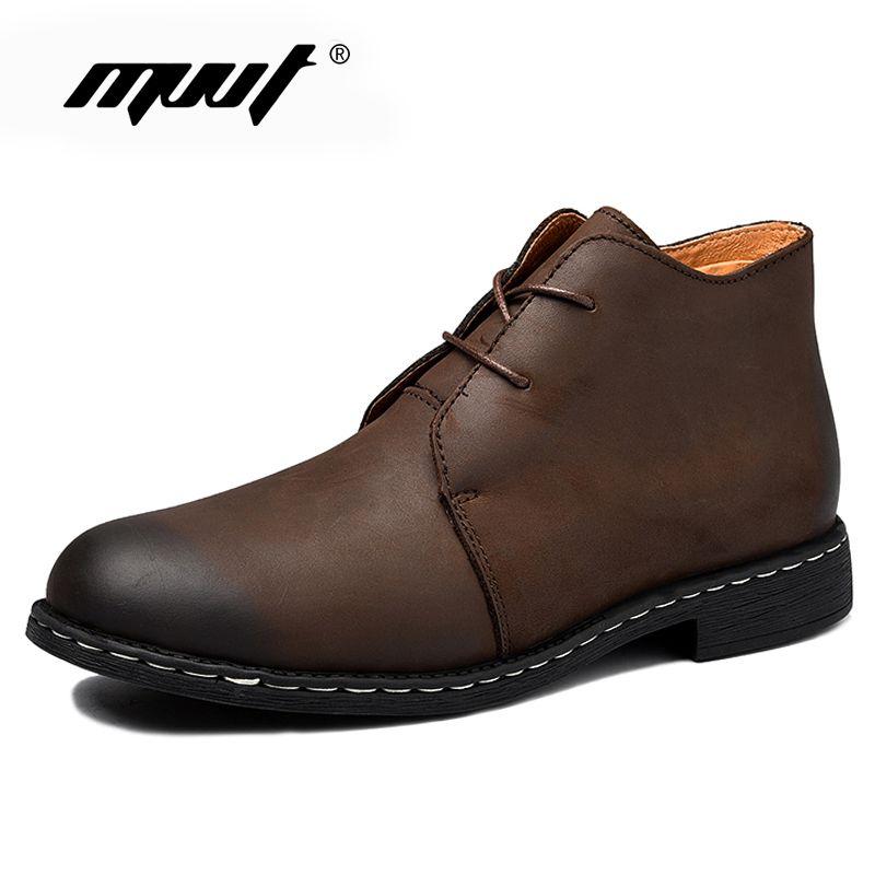 Hommes à la main bottes en cuir véritable hommes neige bottes en cuir imperméable travail sécurité hiver bottines chaussures