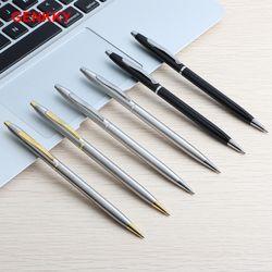 Genkky Pen Stainless steel rod rotating Metal ballpoint Pen Stationery Ballpen 0.7mm Red Blue Black ink Office & School Supplies