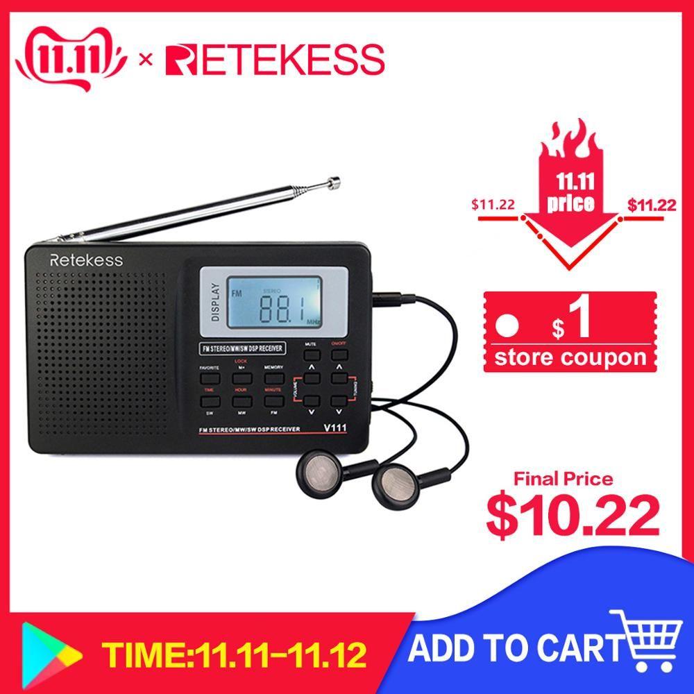 RETEKESS V111 Radio FM pleine bande stéréo/MW/SW DSP récepteur de bande mondiale avec chronométrage réveil Radio Portable noir F9201