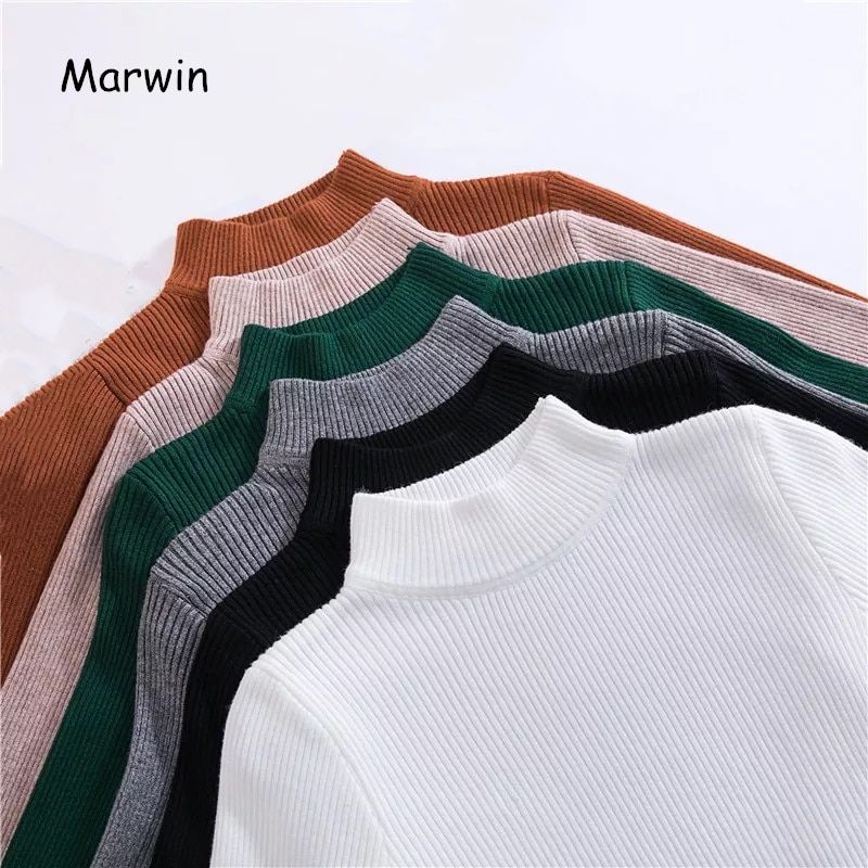 Marwin nouveauté automne hiver pull à col roulé chandails apprêt chemise à manches longues court coréen coupe ajustée pull serré