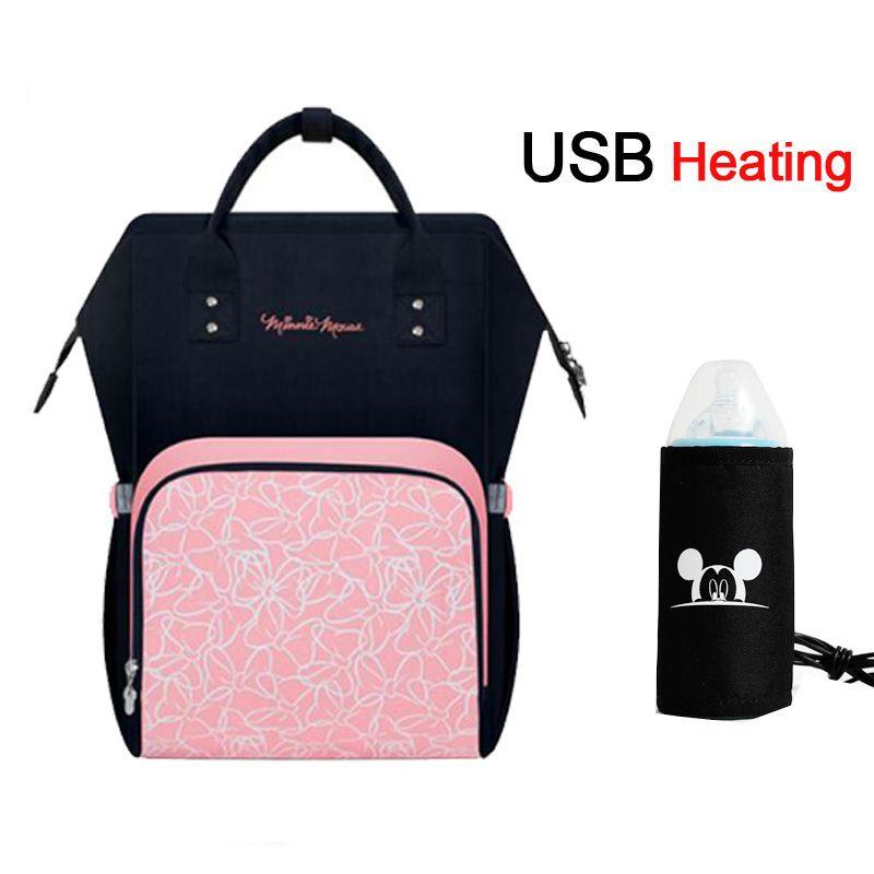 Disney USB Heating Diaper Bag Maternity Nappy Backpack Large Capacity Nursing Travel Backpack Heat Preservation