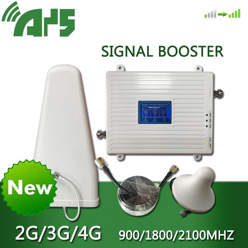 AYS GSM 2G 3G 4G Handy Booster Tri Band Mobile Signal Verstärker LTE Cellular Repeater GSM DCS WCDMA 900 1800 2100 Set