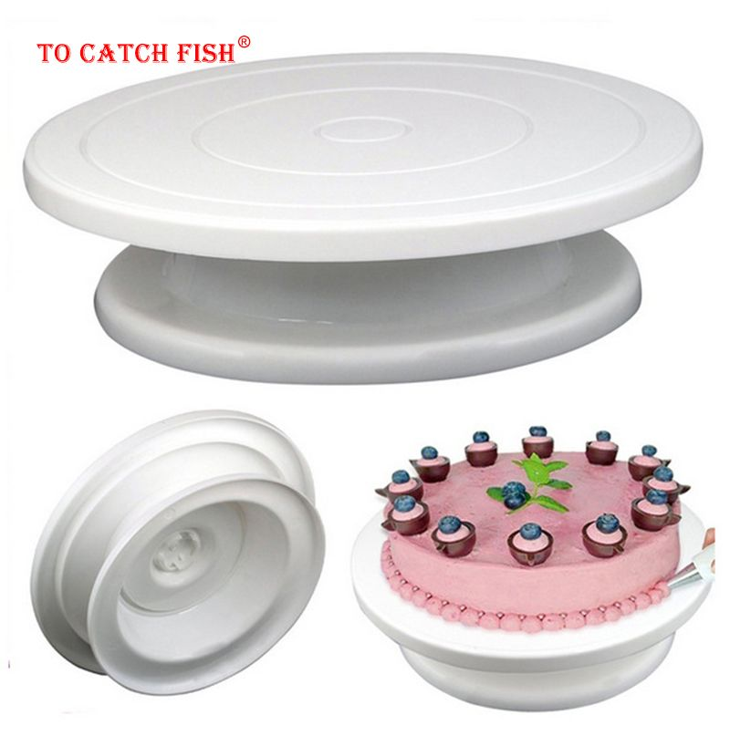 DIY Pan Baking Tool Plastic Cake Plate Turntable Rotating Anti-skid Round Cake Stand Cake Decorating Rotary Table Kitchen