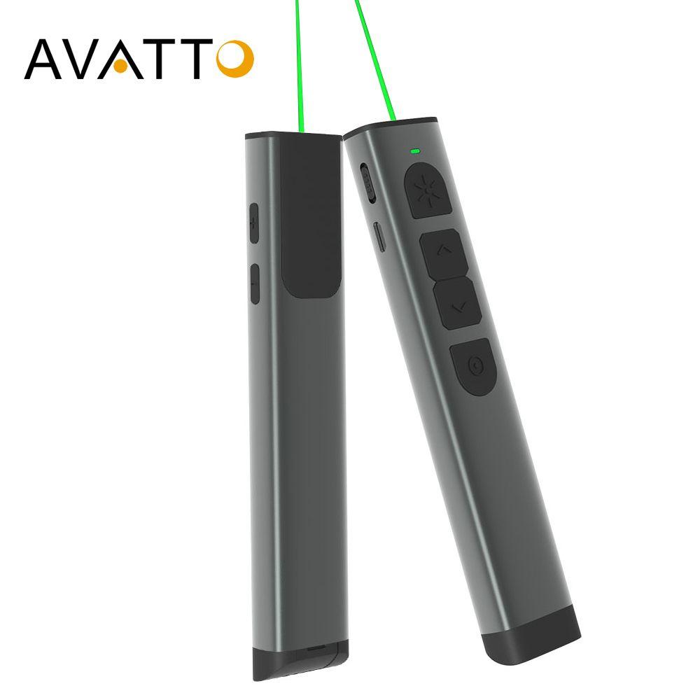 Projecteur en alliage d'aluminium AVATTO Laser vert présentateur sans fil à distance avec souris à Air, stylo Clicker de présentation PowerPointer PPT