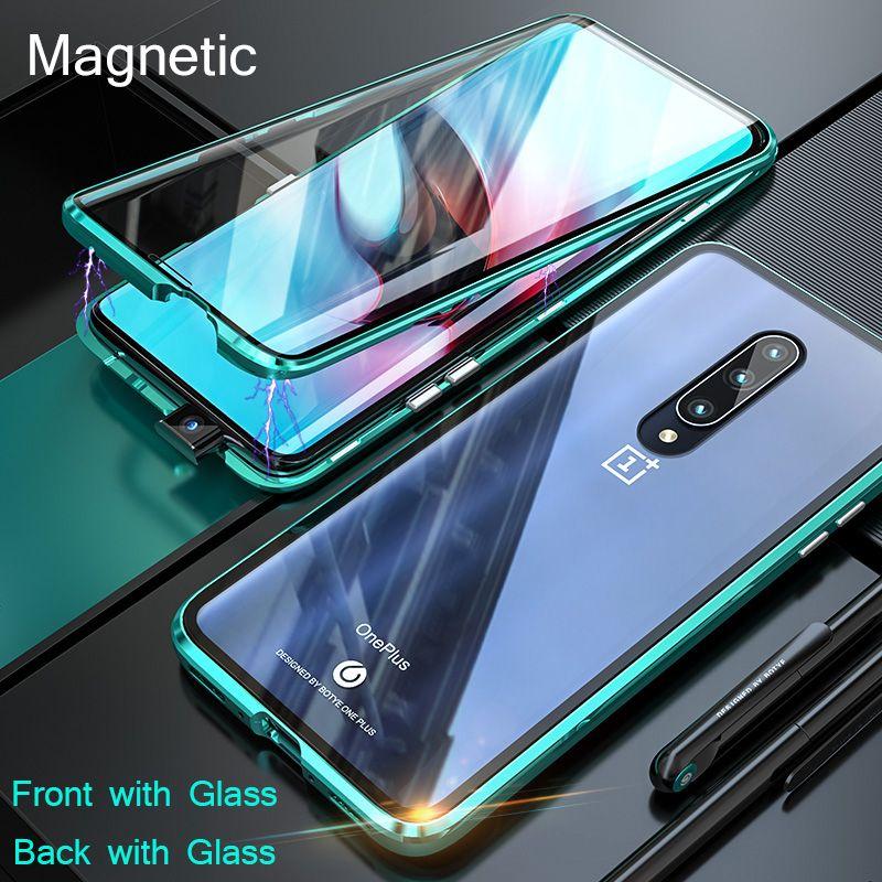 Boîtier en verre magnétique en métal intégré pour Oneplus 7 1 + 7 7Pro boîtier en verre double face sur Oneplus 6 6T 1 + 6 téléphones