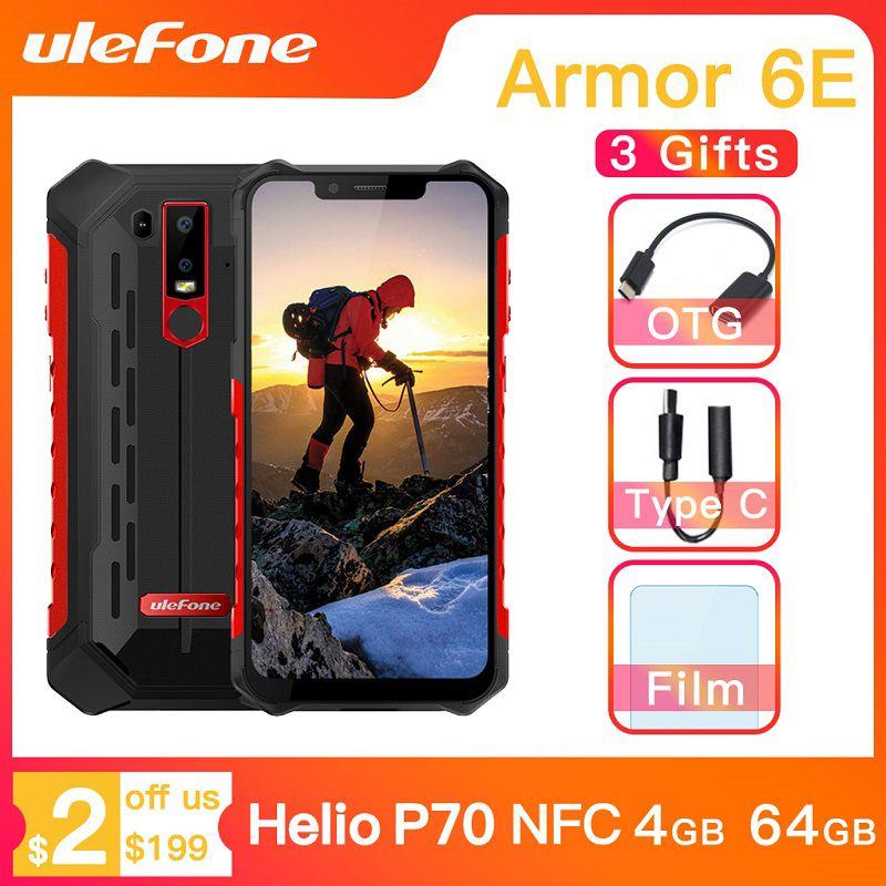 Téléphone portable robuste Ulefone Armor 6E étanche IP68 NFC Helio P70 otca-core Android 9.0 4GB + 64GB Smartphone de charge sans fil