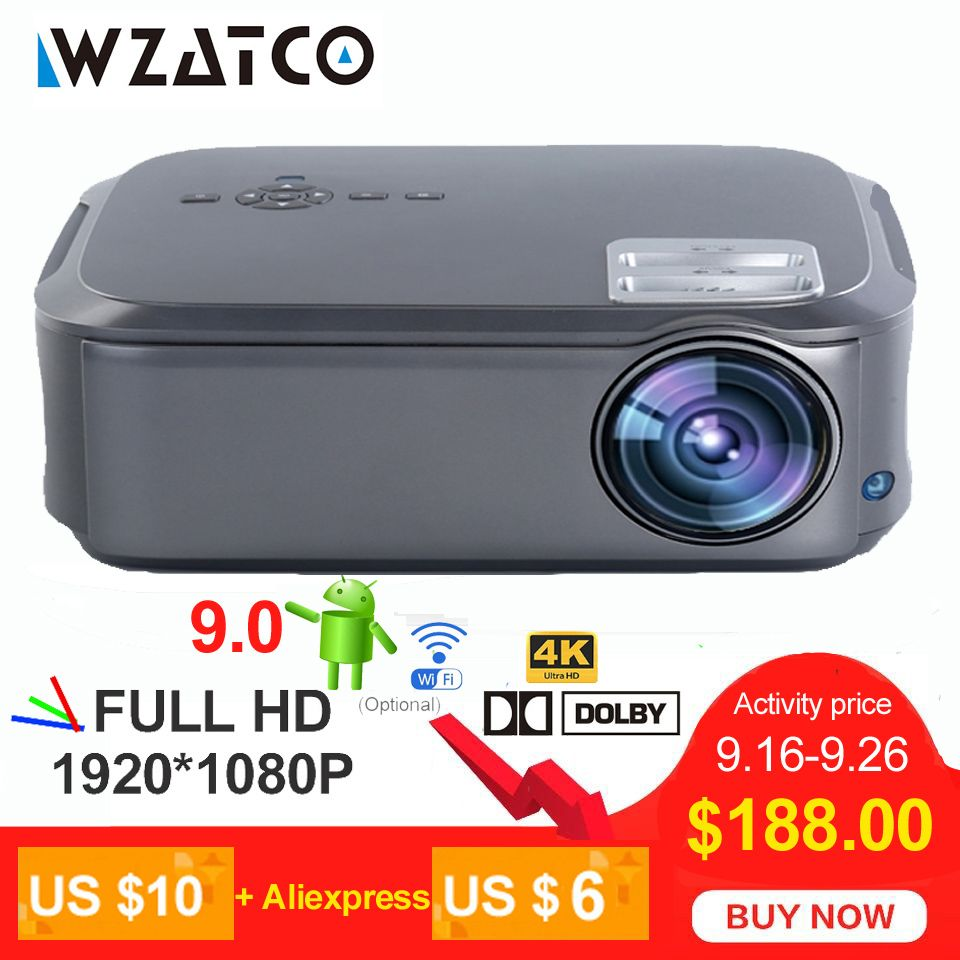 WZATCO T58 Full HD 1920*1080P Support AC3 4K Online Video Android 9.0 Wifi Smart Video LED Projector Proyector For Home Theater