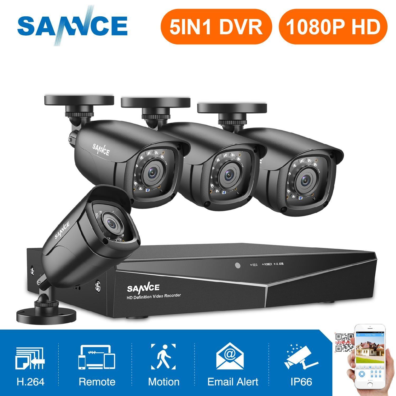 SANNCE 4CH HD 1080P système de vidéosurveillance 1080P sortie HDMI CCTV DVR HD 2.0MP caméras de sécurité IR nuit kit de Surveillance étanche