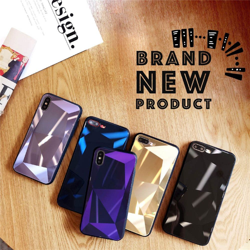 The New 3D Diamond Is Suitable For Iphone 66S 6P78 8P X Xs Xr Xsmax Reflective Laser Glass Case