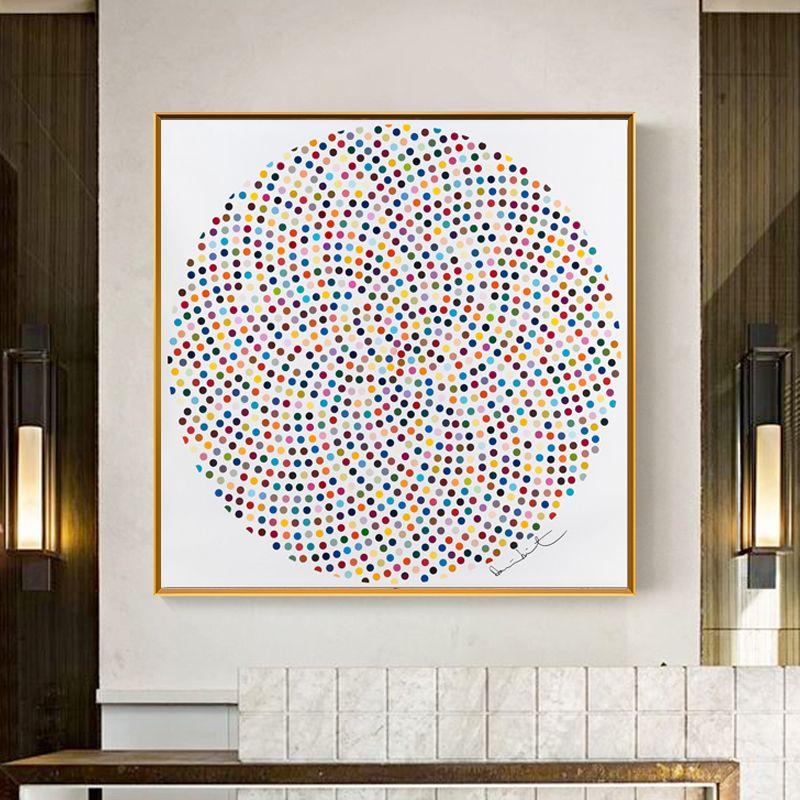 Pas de cadre moderne cercle peinture comprennent beaucoup de points colorés Art photos imprimé toile peinture mur Art photo pour salon