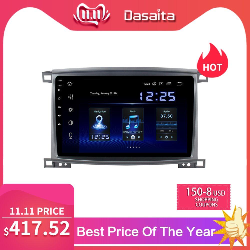 Dasaita Radio 1 Din Android 9.0 Auto Stereo für Toyota LC 100 Land Cruiser 100 2003 GPS Navigation Bluetooth 64GB ROM