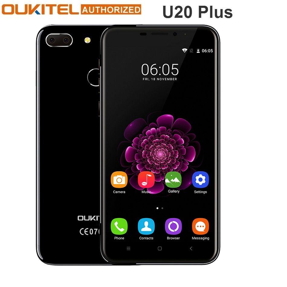 Dégagement Oukitel U20 Plus téléphone portable 5.5 pouces MTK6737T Quad Core 4G Android 6.0 13MP caméra 2GB 16GB Smartphone
