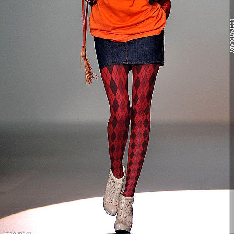 Ruine collant femme original collant imprimé carreaux rouge collant femme fille