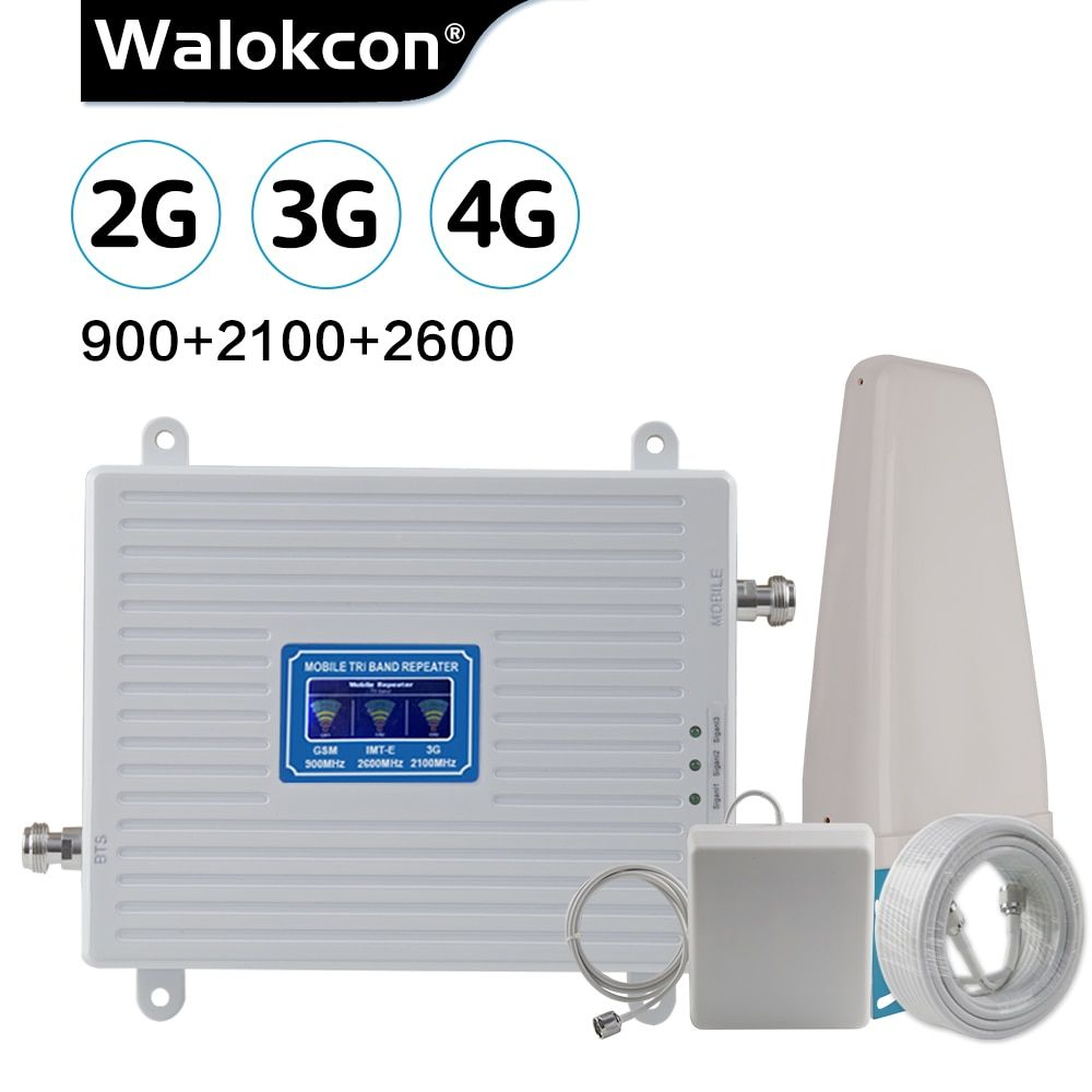2G 3G 4G 2600 Tri Band Cellular Verstärker 2G GSM 900mhz signal Repeater 70dB 3G WCDMA 2100mhz 4G LTE 2600mhz Moblie Booster Set