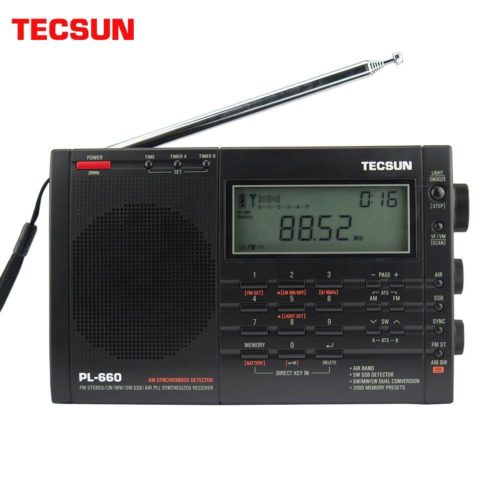 Récepteur de haute sensibilité portatif de radio FM d'air de PL-660 de Tecsun MW/SW/LW double stéréo de réglage numérique approprié à la voile