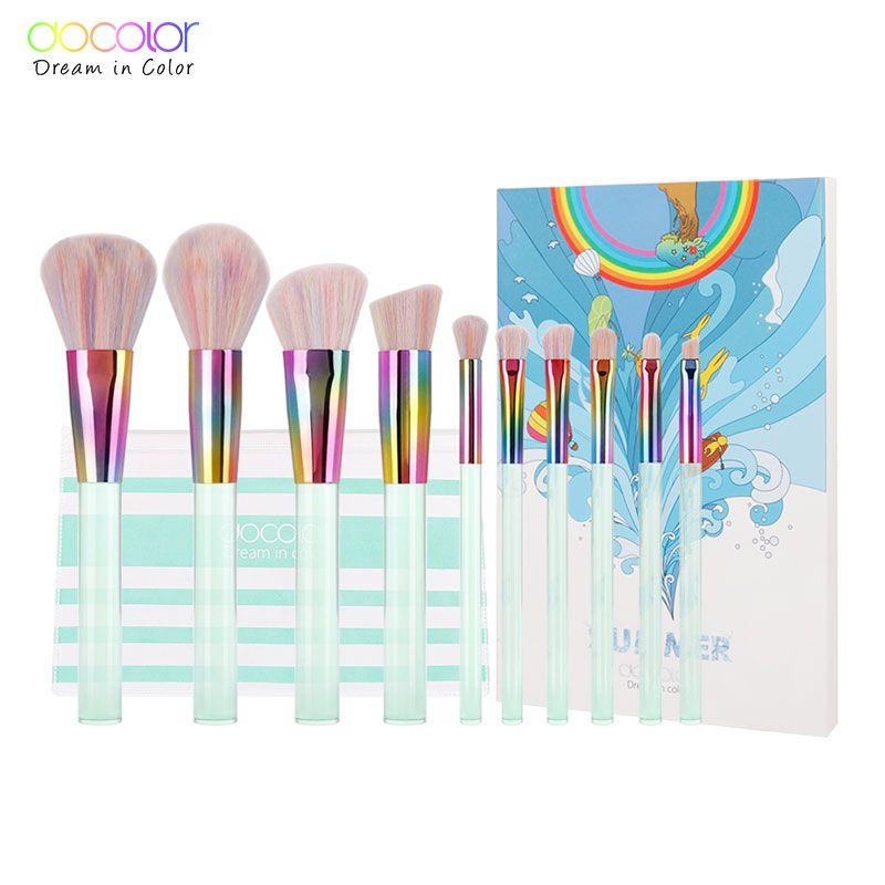 Docolor Nouveau 10 pièces Ensemble De pinceaux De Maquillage Transparent Vert Clair Poignées avec Poils Colorés maquillage Brosses Super Doux Cheveux