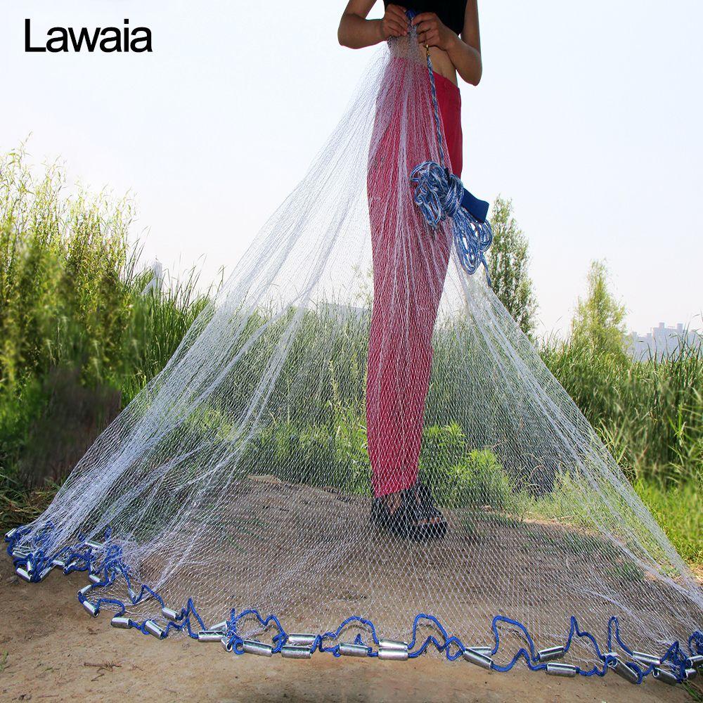 Lawaia filet moulé à la main américain diamètre 2.4 m-7.2 m filet de pêche 4.2m réseau de pêche 3m filets de pêche ou pas de filet pendentif poisson