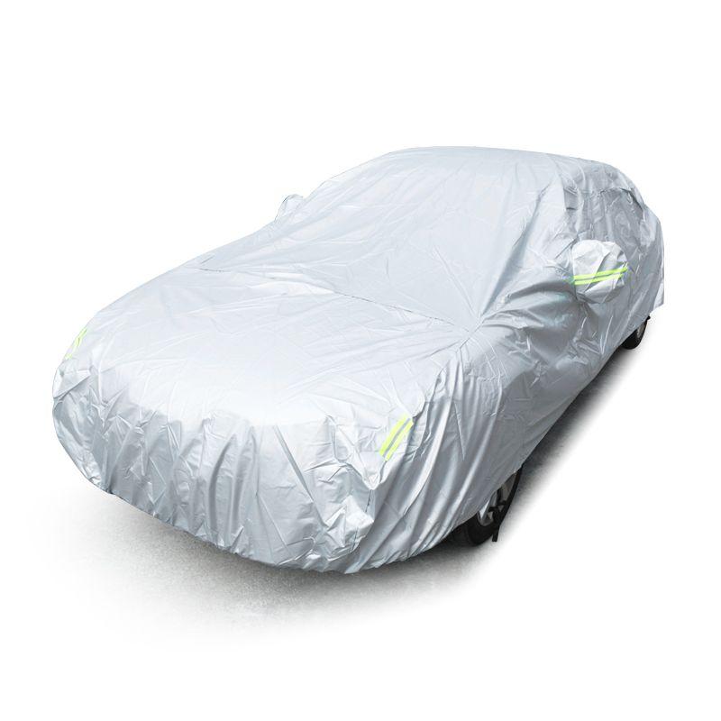 JIUWAN Universal SUV Car Covers Sun Dust UV Protection Outdoor Auto Full covers Umbrella Silver Reflective Stripe For SUV Sedan