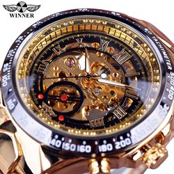 Winner Mechanical Sport Design Bezel Golden Watch Mens Watches Top Brand Luxury Montre Homme Clock Men Automatic Skeleton Watch