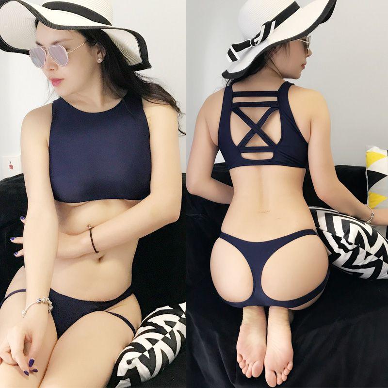 Hot nouveaux étudiants japonais grande taille maillot de bain Sukumizu école maillots de bain bandageThree point sexy Bikinis ensemble épaules bleu profond