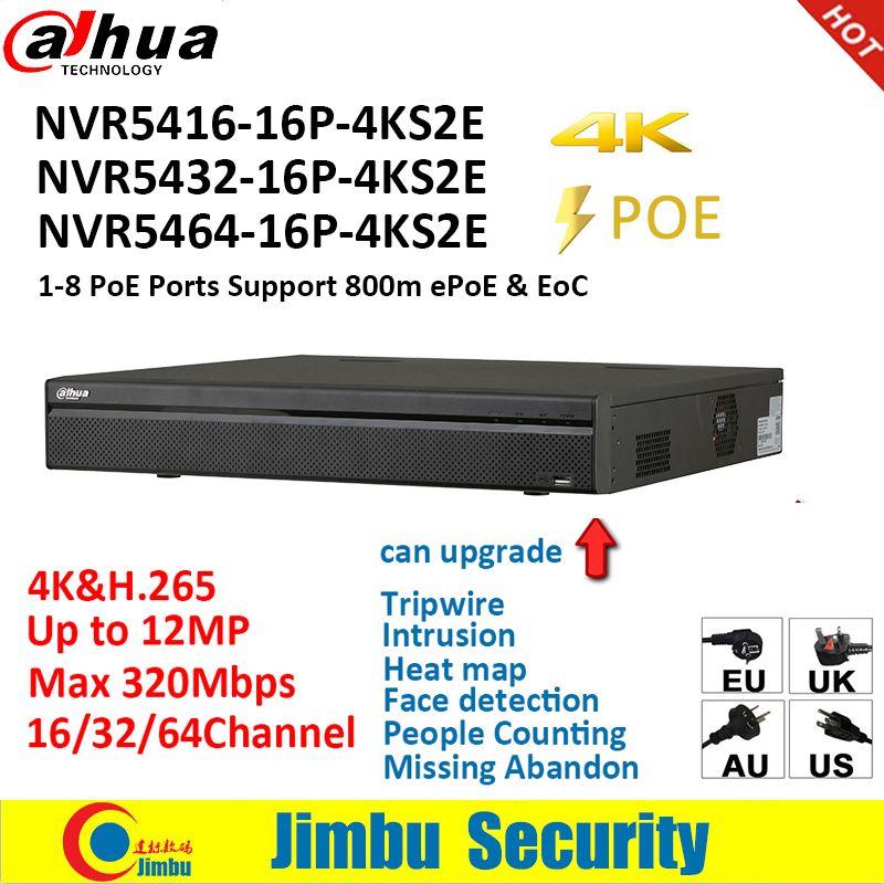 Dahua NVR 4K PSP Video Recorder NVR5416-16P-4KS2E NVR5432-16P-4KS2E NVR5464-16P-4KS2E 16PoE 16CH 32CH 64CH menschen countiing