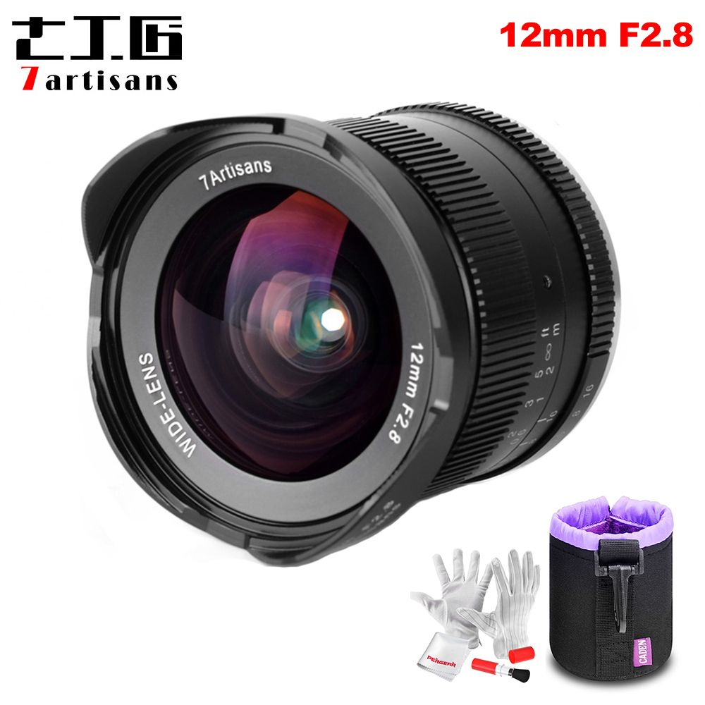 7 handwerker 12mm F2.8 Ultra Weitwinkel Objektiv für Sony E-mount APS-C Spiegellose Kameras A6500 A6300 A7 manuelle Fokus Prime Feste Linse