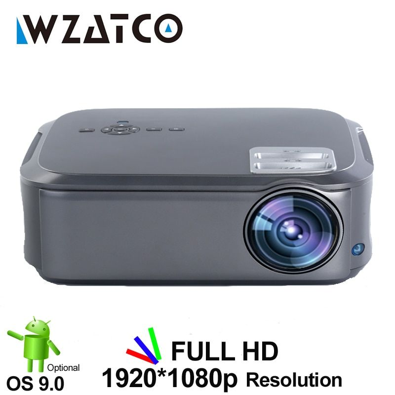 WZATCO CT58 Full HD 1920*1080P Suport AC3 4K Online Video Android 9.0 Wifi Smart  Video LED Projector Proyector For Home Theater