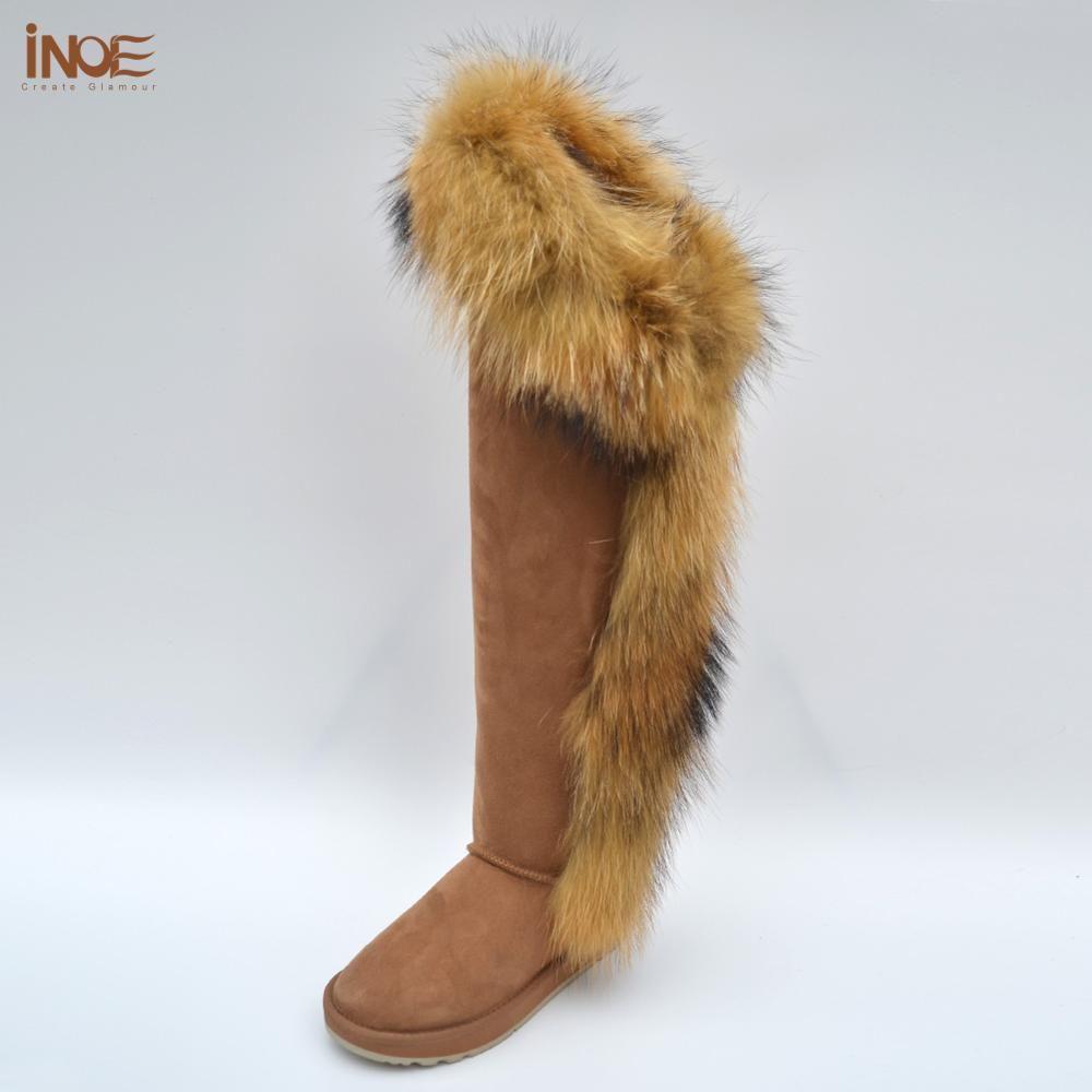 INOE Mode Fuchs Pelz Über Die Knie Winter Stiefel für Frauen Lange Schaffell Leder Pelz Gefüttert Frauen Schnee Stiefel halten Warme Schuhe